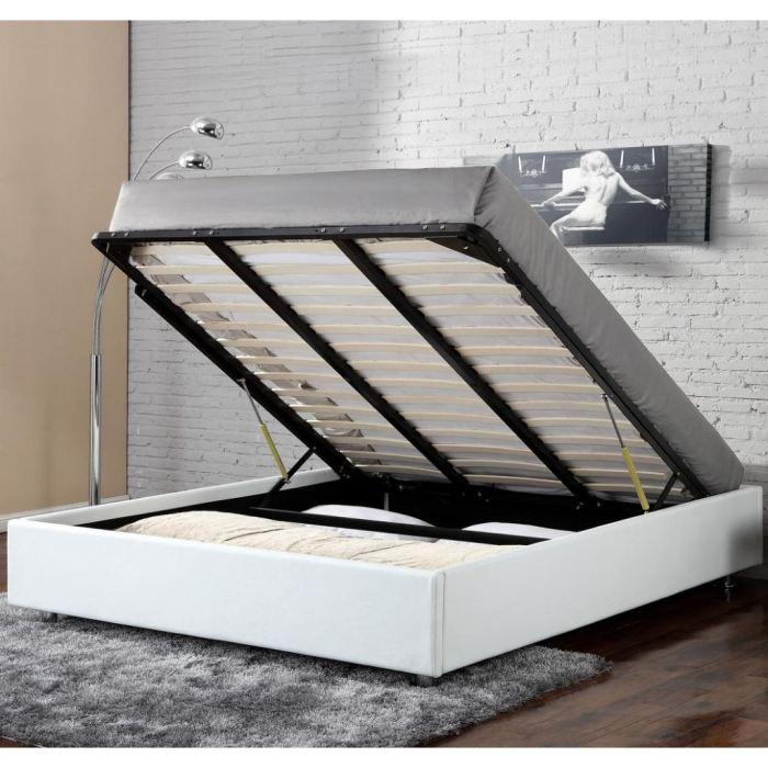 lit coffre blanc 160x200