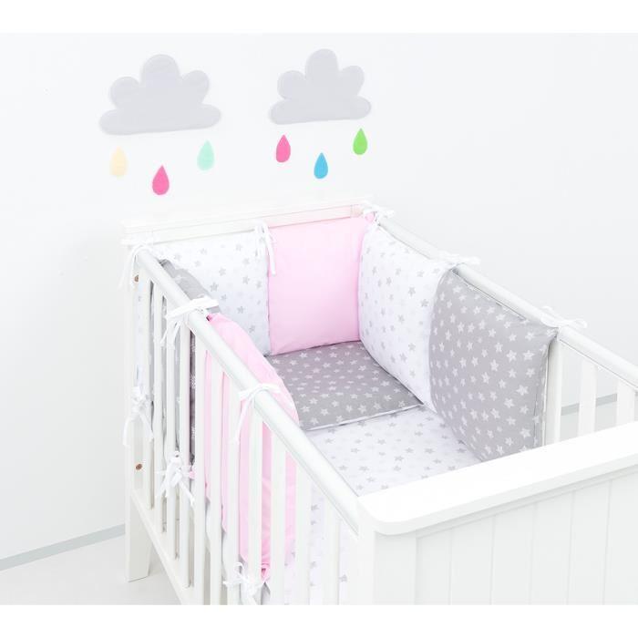 Tour de lit bébé jasmin gris et rose | Nature & Découvertes